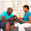Stock Photo: Africamericcouple expecting new baby