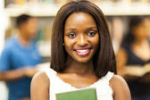 Cute female african american college student closeup portrait — Stock Photo