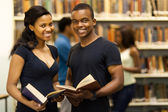 Group of african american university students in library — Stockfoto