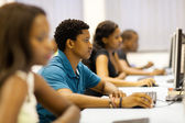 Group of african university students in computer room — Stock Photo
