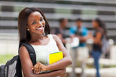 Beautiful young female african college student on campus — Stock Photo
