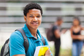 Male african college boy portrait on campus — Stock Photo