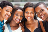 Group of african american college students closeup — Stock Photo