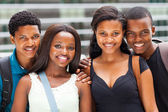Group of african university students portrait on campus — Stock Photo