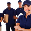 Professional courier service despatcher and staff — Stock Photo