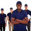 African american technical service worker and team — Stock Photo