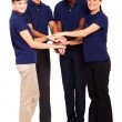 Group of service industry staff hands together — Stockfoto