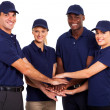 Service team hands together on white background — Stock Photo #20189015