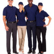 Young service team group portrait on white — Stockfoto