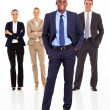 Stok fotoğraf: Handsome african businessman and team full length on white