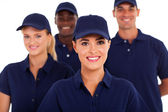 Group of service industry staff closeup on white — Stok fotoğraf