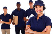 Professional courier service despatcher and staff — Stok fotoğraf