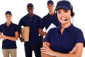 Profesyonel kurye hizmeti despatcher ve personel — Stok fotoğraf