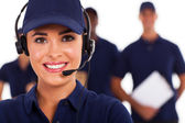 Professional technical support call center despatcher and team — Zdjęcie stockowe