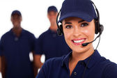 Technical support call center operator and team — Stock Photo