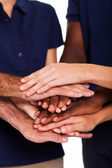 Team hands together to form unity — Stock Photo