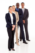 Business team full length portrait on white — Stock Photo