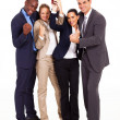 Happy young business team winning a competition — Foto Stock