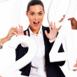 Fun businesswoman with numbers around her — Stock Photo