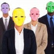 Group of business with mask — Stock Photo