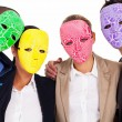 Fake business teamwork concept group of business with mask - Stock Photo