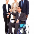 Handicapped business leader on wheelchair pointing — Stock Photo #20190923