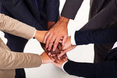 Group of business hands together forming teamwork — Stok fotoğraf