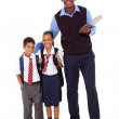 Elementary school teacher and students full length portrait on white — Stock Photo #21978611