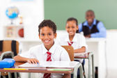 Primary students and teacher sitting in classroom — Stock Photo