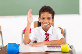Primary schoolboy hand up in classroom — Stock Photo