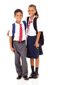 Two elementary school students full length — Stockfoto