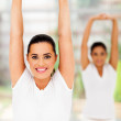 Two young females doing yoga exercise — Stock Photo