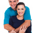 Cheerful couple on white background — Stock Photo