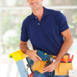 Happy cctv installer — Stock Photo