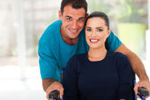 Loving husband and diabled wife — Stock Photo