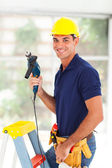 Professional cctv system installer — Stock Photo