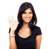 Cheerful indian woman ok hand sign — Stock Photo