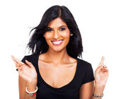 Cheerful woman wishing good luck — Stock Photo
