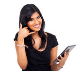 Businesswoman doing call me sign — Stock Photo