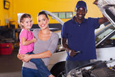 Young mother and daughter in garage — Stock Photo