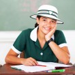 Stock Photo: Middle school student sitting in classroom