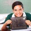High school girl holding tablet computer — Stock Photo
