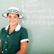 Teen high school girl learning French — Stock Photo