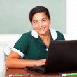 Schoolgirl using laptop — Stock Photo #24418851