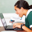 Surprised middle school girl looking at her laptop — Stock Photo #24419077