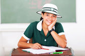 Middle school student sitting in classroom — Stock Photo