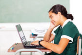 High school student using computer — Stock Photo