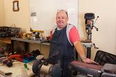Senior machinist in workshop — Stock Photo
