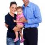 Happy family of three — Stock Photo