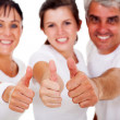 Active family thumbs up — Stock Photo